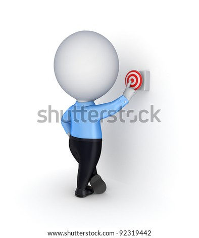 3d small person pushing a red button.Isolated on white background. - stock photo