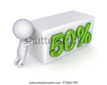 "3d small person pushing a word ""50%.""Isolated on white background. - stock photo"