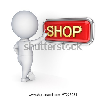 3d small person pushing SHOP button. - stock photo