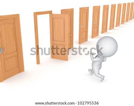 3d small person running through opened door.Isolated on white background. - stock photo