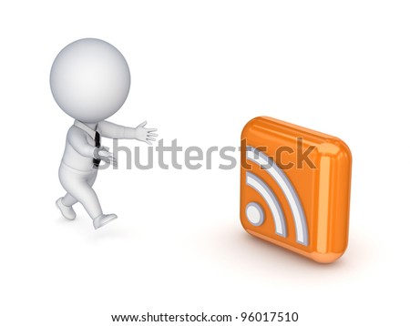 3d small person running to RSS symbol.Isolated on white background. - stock photo