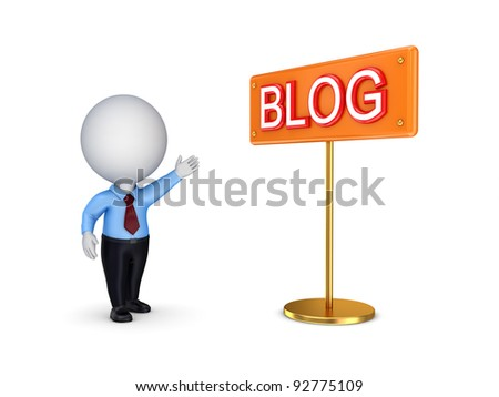 3d small person showing on a banner BLOG.Isolated on white background. - stock photo