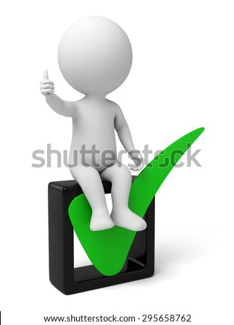 3d small person sitting on a big check mark. 3d image. Isolated white background - stock photo
