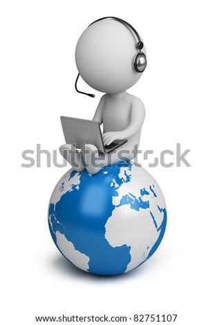 3d small person sitting on planet Earth with a laptop and headphones. 3d image. Isolated white background. - stock photo