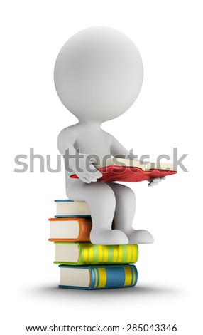 3d small person sitting on the books. 3d image. White background. - stock photo