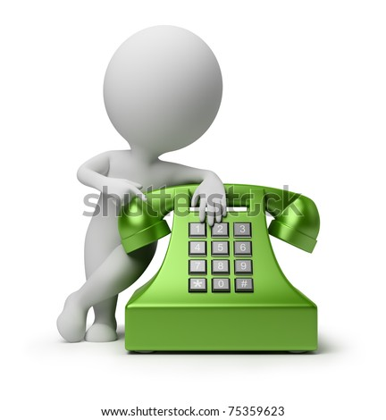 3d small person specifying in green phone. 3d image. Isolated white background. - stock photo