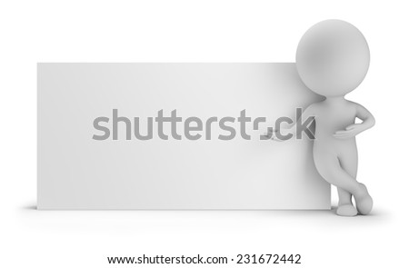 3d small person standing near an empty board. 3d image. White background. - stock photo