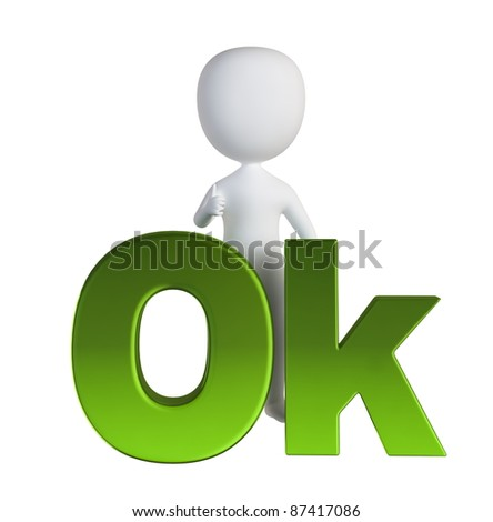 3d small person standing near to an ok icon. 3d image. Isolated white background. - stock photo