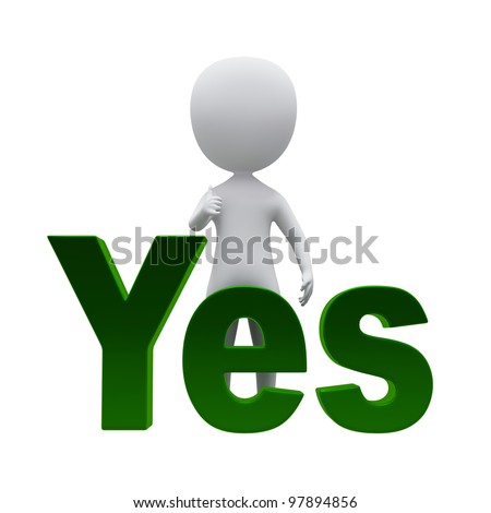 3d small person standing near to an yes icon. 3d image. Isolated on a white background. - stock photo
