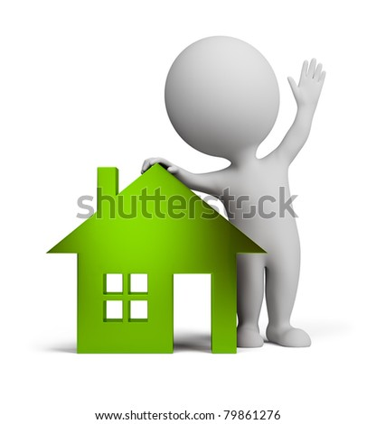3d small person standing near to the glass green house and waving a hand. 3d image. Isolated white background. - stock photo