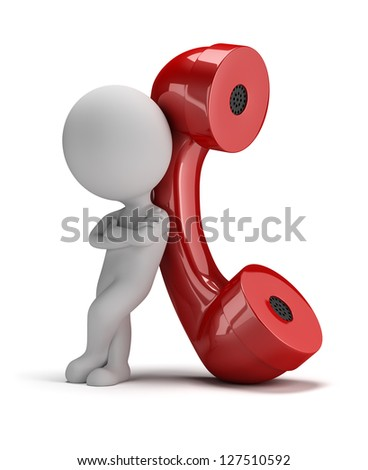 3d small person standing next to a large handset. 3d image. Isolated white background. - stock photo
