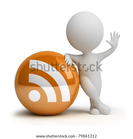 3d small person standing next to the rss icon. 3d image. Isolated white background. - stock photo