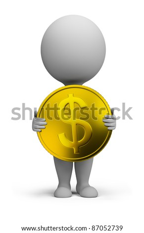 3d small person standing with a gold coin in the hands of. 3d image. Isolated white background. - stock photo