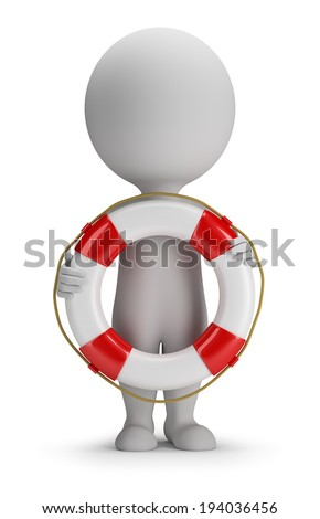 3d small person standing with a lifeline in the hands of. 3d image. White background.