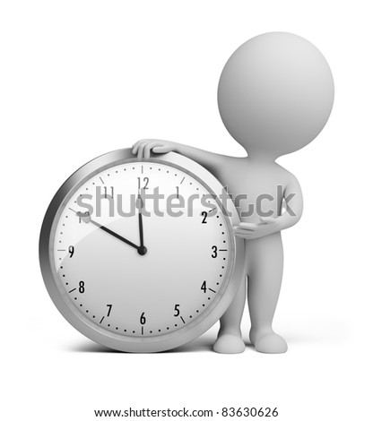 3d small person stands next to the clock. 3d image. Isolated white background. - stock photo