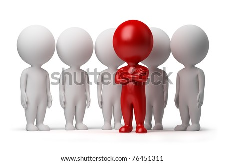 3d small person the leader of a team allocated with red colour. 3d image. Isolated white background. - stock photo