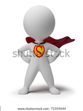3d small person the superhero standing in a confident pose in a raincoat. 3d image. Isolated white background. - stock photo