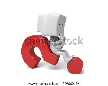 3d small person thinking with a large question mark. 3d image. Isolated white background - stock photo