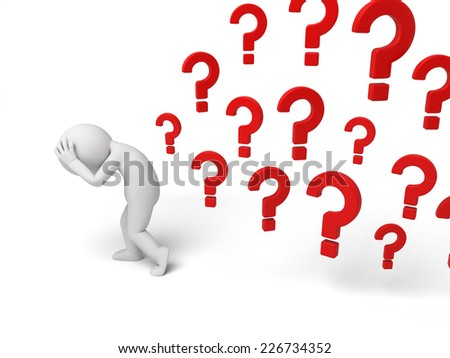 3d small person thinking with a lot of question marks. 3d image. Isolated white background - stock photo