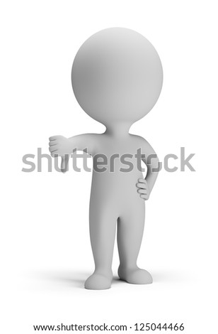 3d small person - thumb pointing down. 3d image. Isolated white background. - stock photo