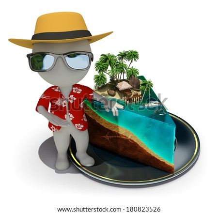 3d small person - tourist near a slice of cake in the form of paradise. 3d image. White background. - stock photo