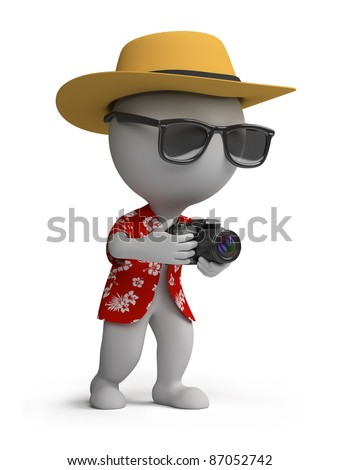 3d small person - tourists in a Hawaiian shirt, hat and sunglasses with a camera. 3d image. Isolated white background. - stock photo