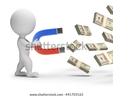 3d small person with a big magnet attracts packs of money. 3d image. White background.