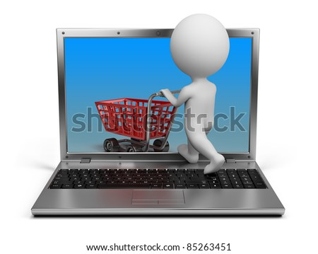 3d small person with a cart penetrating the laptop screen. 3d image. Isolated white background. - stock photo