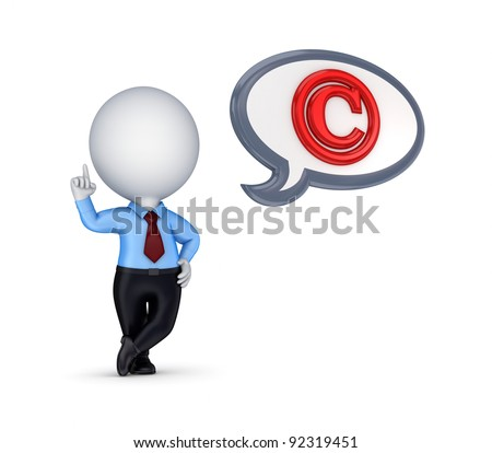 3d small person with a copyright symbol.Isolated on white background.