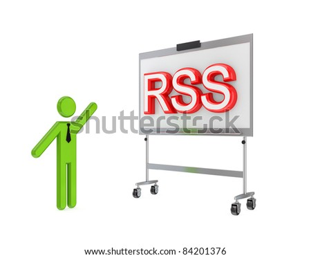 3d small person with a flipchart and big word RSS.Isolated on white background. - stock photo
