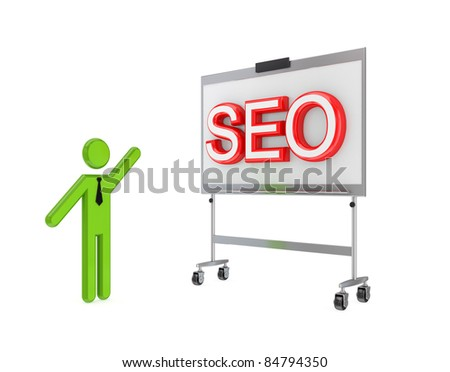 3d small person with a flipchart and big word SEO.Isolated on white background. - stock photo