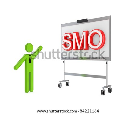 3d small person with a flipchart and big word SMO.Isolated on white background. - stock photo