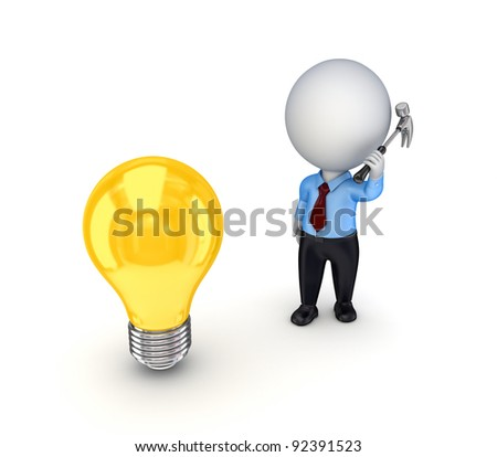 3d small person with a hammer in a hand and idea symbol.isolated on white background.