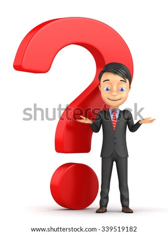 3d small person with a question mark on a white background - stock photo