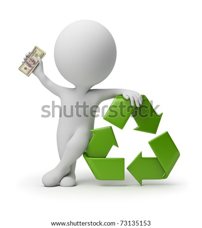 3d small person with a recycling symbol and money in hands. 3d image. Isolated white background. - stock photo