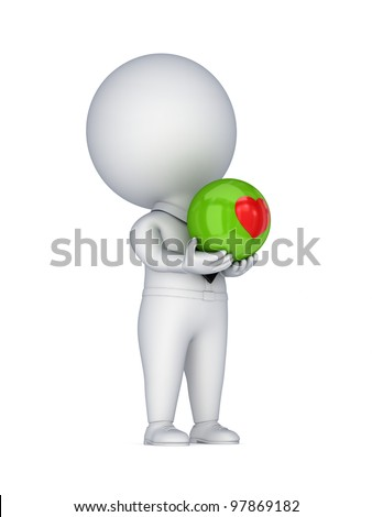 3d small person with a red heart in a hands.Isolated on white background. - stock photo
