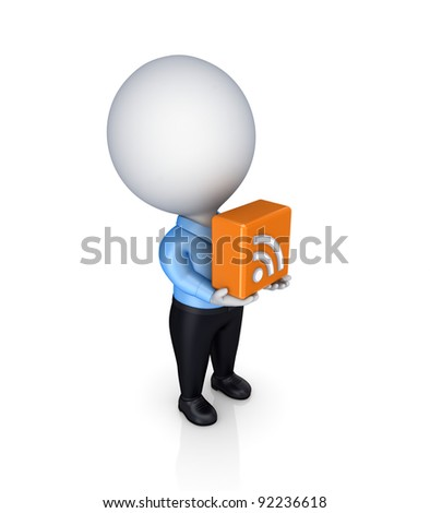 3d small person with a RSS symbol in a hands.Isolated on white background. - stock photo