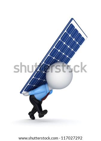 3d small person with a solar battery on the back.Isolated on white background.