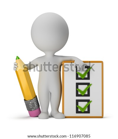 3d small person with clipboard and pencil. 3d image. Isolated white background.