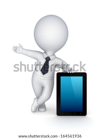 3d small person with modern tablet PC.Isolated on white.