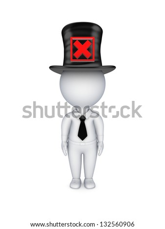 3d small person with red cross mark on a top-hat.Isolated on white background. - stock photo