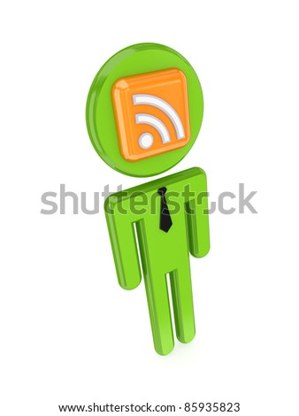 3d small person with RSS sign on a face.Isolated on white background. - stock photo