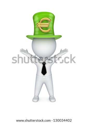 3d small person with sign of euro on top-hat.Isolated on white.