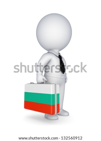 3d small person with suitcase with flag of Bulgaria.