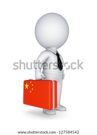 3d small person with suitcase with flag of China.