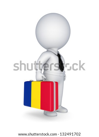 3d small person with suitcase with flag of Romania.