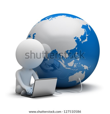 3d small person working on a laptop next to the globe. 3d image. White background. - stock photo