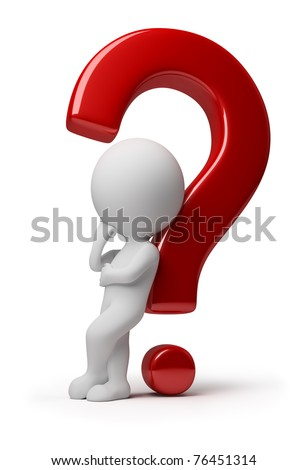 3d small thinking person leant against a red question. 3d image. Isolated white background. - stock photo