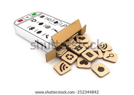 3d smartphone cardboard box with cloud of application icons, 3d image - stock photo