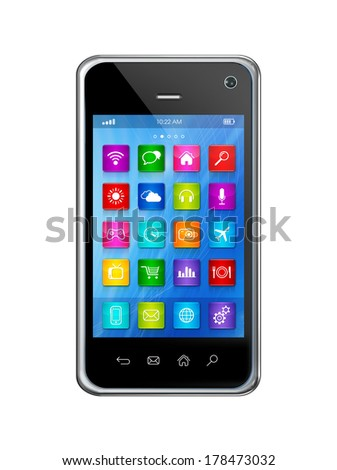 3D smartphone, mobile phone - apps icons interface - isolated on white with clipping path - stock photo